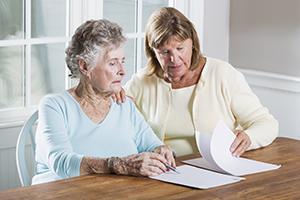 A caregiver with a client