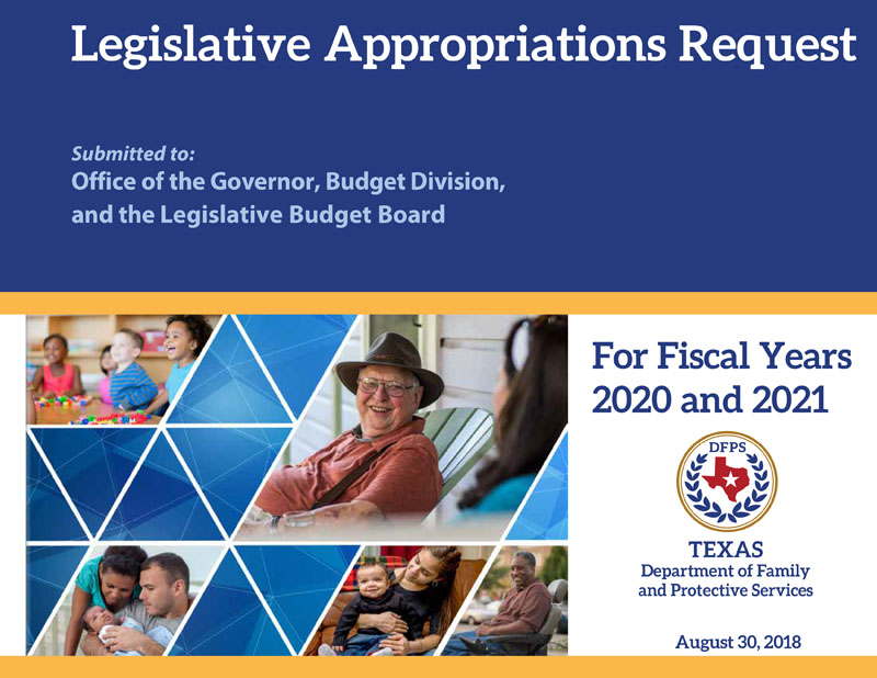 Cover of Legislative Appropriations Request
