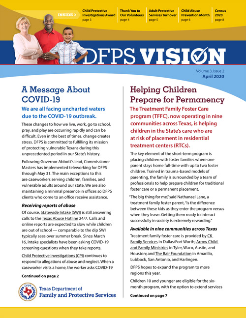 DFPS Vision Newsletter, Volume 1, Issue 4 – October 2018 #cps_tx