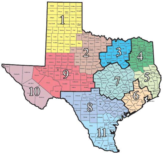 map of Texas divided into DFPS regions