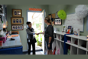 A CCL investigator visiting a day care facility
