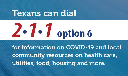 Call 2-1-1 for information on COVID-19