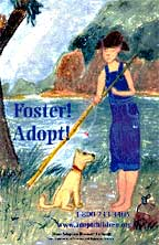 Girl and dog by a river Poster